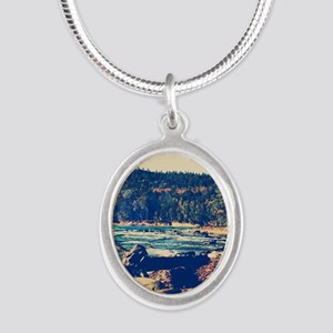 Rocky Shores of Lake Superior Silver Oval Necklace