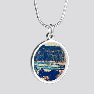 Rocky Shores of Lake Superio Silver Round Necklace