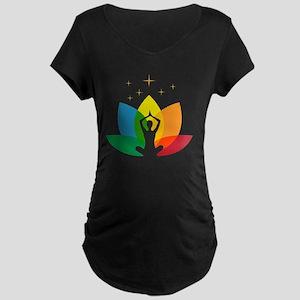 Lotus Flower and Yoga Pose Maternity Dark T-Shirt
