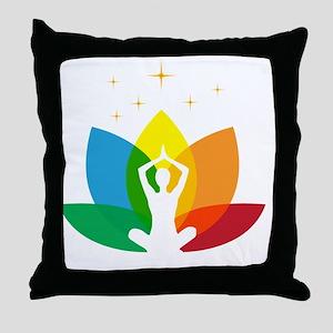 Lotus Flower and Yoga Pose Throw Pillow