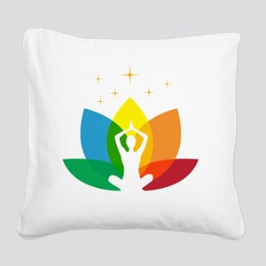 Lotus Flower and Yoga Pose Square Canvas Pillow