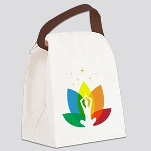 Lotus Flower and Yoga Pose Canvas Lunch Bag