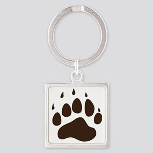 Brown Paw Print  Square Keychain
