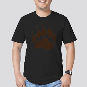 Brown Paw Print  Men's Fitted T-Shirt (dark)