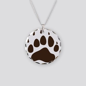 Brown Paw Print  Necklace Circle Charm
