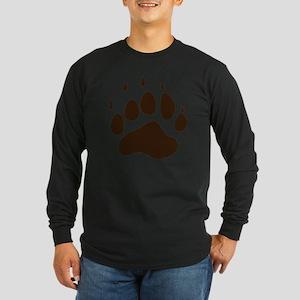 Brown Paw Print  Long Sleeve Dark T-Shirt
