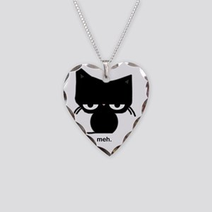 meh cat Necklace Heart Charm