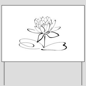 Sketch Outline of Lotus Blossom Yard Sign
