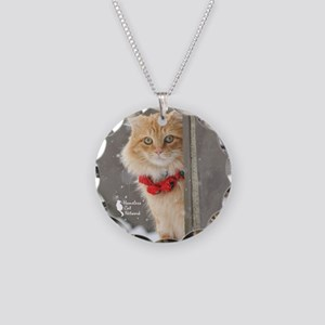 Ornament Holiday Snow Cat Necklace Circle Charm