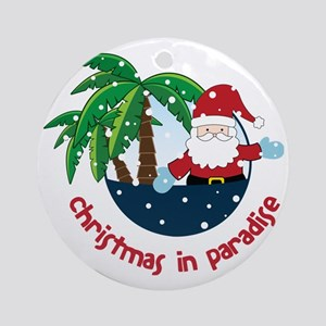 Christmas In Paradise Round Ornament