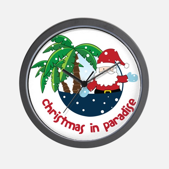 Christmas In Paradise Wall Clock