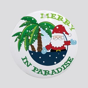Merry In Paradise Round Ornament