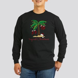 Tropical Christmas Long Sleeve Dark T-Shirt