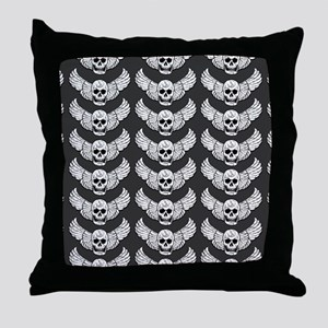 Winged Skull Pattern Throw Pillow