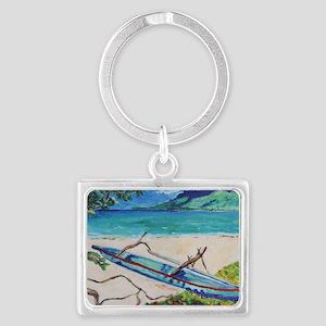Tahiti Outrigger Landscape Keychain