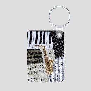 0555-ipad-sax Aluminum Photo Keychain