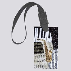 0555-ipad-sax Large Luggage Tag