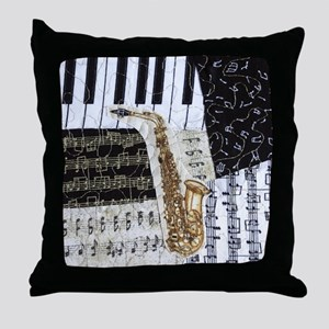 0555-ipad-sax Throw Pillow