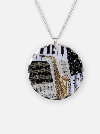 0555-ipad-sax Necklace Circle Charm