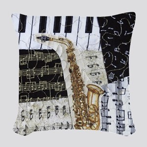0555-ipad-sax Woven Throw Pillow