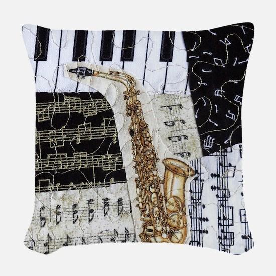 0555-ipad-sax Woven Throw Pillow