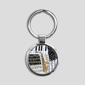0555-ipad-sax Round Keychain