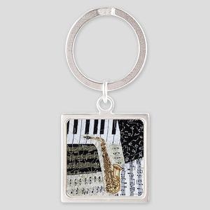 0555-ipad-sax Square Keychain