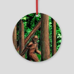 Bigfoot walking Round Ornament