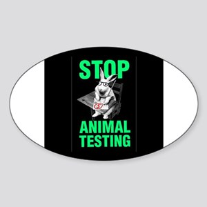 STOP ANIMAL TESTING Oval Sticker