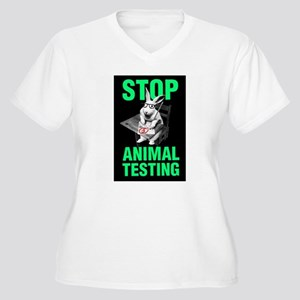 STOP ANIMAL TESTING Women's Plus Size V-Neck T-Shi