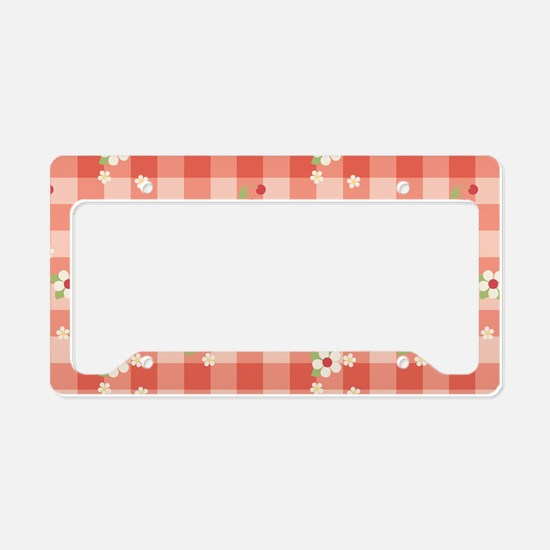 FlowerGingham_Red_Large License Plate Holder