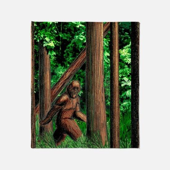 bigfoot walking Throw Blanket