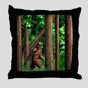bigfoot walking Throw Pillow