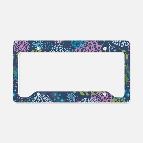 LayerFlowers_Blue_Large License Plate Holder