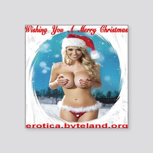 "Wishing You A Merry Christm Square Sticker 3"" x 3"""