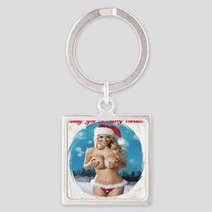 Wishing You A Merry Christmas Square Keychain