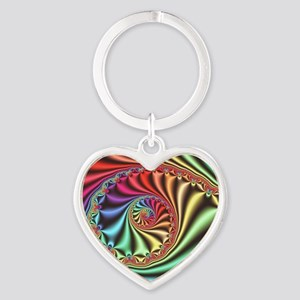 Julia set fractal Heart Keychain