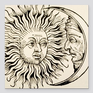 "Sun and moon, historical Square Car Magnet 3"" x 3"""
