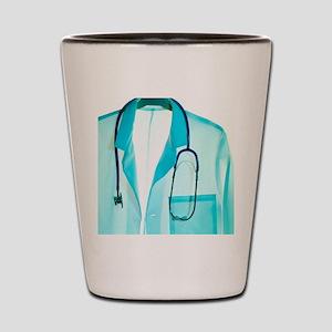 Stethoscope and lab coat Shot Glass