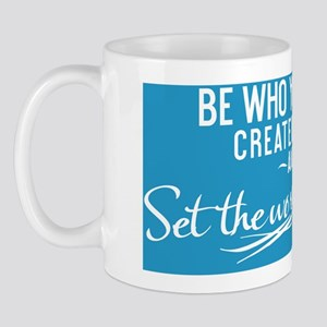 small print Be who you were created to  Mug