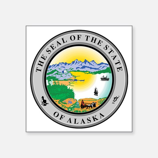 "Alaska State seal Square Sticker 3"" x 3"""