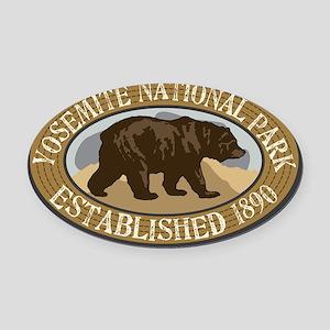 Yosemite Brown Bear Badge Oval Car Magnet