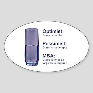 MBA Half Full Oval Sticker