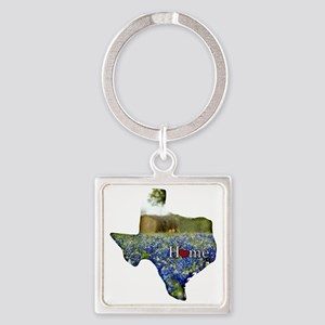 Texas Home Bluebonnets Square Keychain
