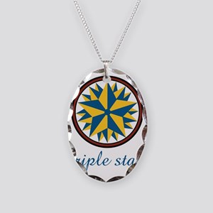 Triple Star Necklace Oval Charm
