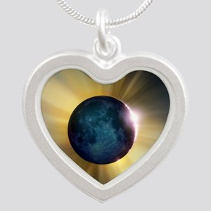 Total solar eclipse Silver Heart Necklace