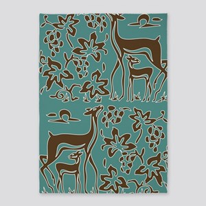 Deer in the Vineyard Batik 5'x7'Area Rug