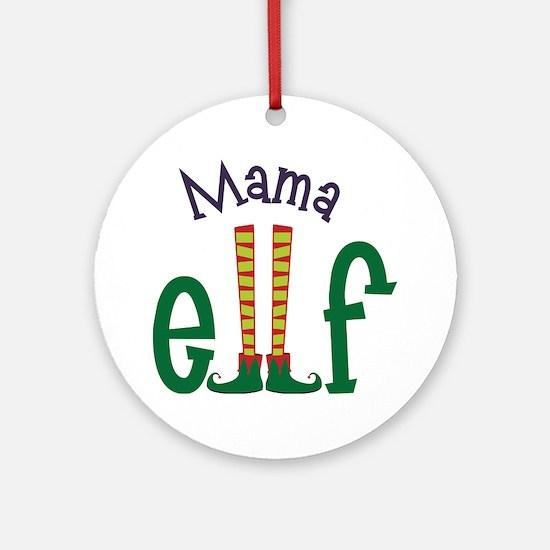 Mama Elf Round Ornament