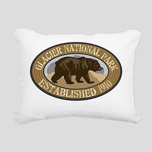 Glacier Brown Bear Badge Rectangular Canvas Pillow