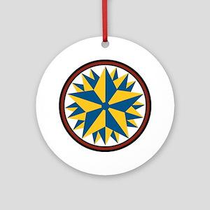 Triple Star Hex Round Ornament